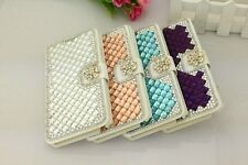 Luxury 3D Bling Crystal Diamond Leather Flip Stand Case Cover For Various Phone