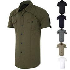 Stylish Mens Casual Slim Fit Short Sleeve Casual/Formal Dress Shirts Tops Shirt