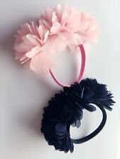 1X Women Girl School color Pink Navy Sweet Flower Hair Ponytail Holder Band Tie