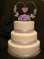 a rose glitter butterfly crystal heart wedding anniversary cake topper or set