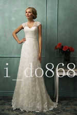 2017 Charming Lace Wedding Dress Vintage Cap Sleeve See-through Back Bridal Gown