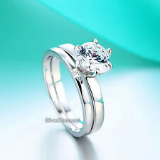 Fine 925 Sterling Silver Wedding Engagement Ring Set Round Cut Simulated Diamond