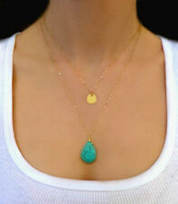 Waterdrop Turquoise Pendant Gypsy Ethnic Tribal Turkish Boho Coin Chain Necklace