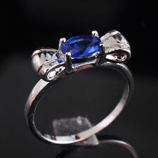 Amazing Woman Jewelry Bowknot Sapphire crystal S80 Silver Gemstone Ring size 6~9