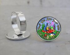 Alice Wonderland Lewis Carroll Choose Quote Silver Plated Adjustable Ring