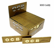 Genuine OCB GOLD PREMIUM King Size Slim Cigarette Rolling Papers 50 FULL BOX