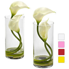 Double Calla Lily Set/2 Silk Flowers Vase 4 colors by Nearly Natural | 10.5 in