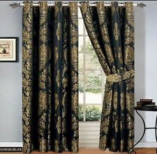 RING TOP BLACK JACQUARD EYELET TAPE PAIR FULLY LINED CURTAINS + 2 FREE TIE BACKS