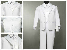 Baby Boy White Suit/Tuxedo Party/Baptism/Wedding 5 pieces Outfit/Sizes S to 7