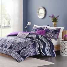 BEAUTIFUL MODERN CHIC TROPICAL EXOTIC PURPLE GLOBAL BOHEMIAN SOFT COMFORTER SET