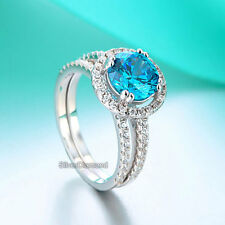 925 Sterling Silver Blue Halo Round Cut Engagement Ring Set Simulated Diamond