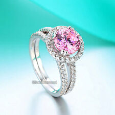 925 Sterling Silver Pink Halo Round Cut Engagement Ring Set Simulated Diamond