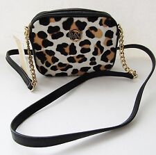 NWT Michael Kors Small Fulton Crossbody Bag Handbag Purse Leopard Haircalf