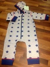 Baby boys hooded playsuit outerwear grey blue stars 12-18 mths