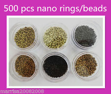 500 X Nano Micro Rings Beads for Nano Ring I Tip Hair Extensions Blonde Black