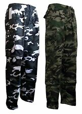 Mens Polyester Cargo combat army Camo Camouflage Work Zip Off Trouser S-2XL