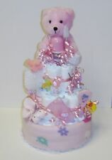 Baby Diaper Cake Shower Gift 3 Tier -Pink  Bear  handmade