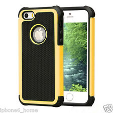 Heavy Duty Tough Armor (2 in 1) Dual Layer Yellow Case Cover For iPhone 5/5s/SE