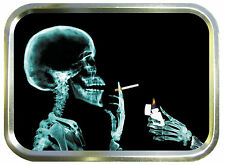SMOKING SKULL 2oz GOLD TOBACCO TIN,STASH CAN,STORAGE TIN