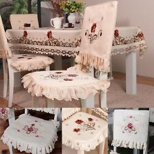 YAZI Country Rustic Floral Embroidered Dining Chair Cover Seat Cushion Pad