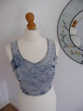 PRIMARK DENIM CROPPED TOP BRALET ACID WASH BNWT SUMMER FESTIVAL