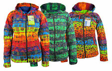 Multicolor Striped Print Casual Warm Winter Psycedelic Ribs Elf Hoodie Jacket