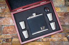 Personalized Black Leather Flask-Custom Engraved Gift For Him, Optional Gift Box