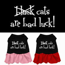 Dog Dresses - BLACK CATS ARE BAD LUCK Screenprint -Poly/Cotton Many Sizes/Colors