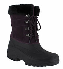 GroundWork LS005 Womens Purple Mukker Stable Yard Winter Snow Lace Up Boots