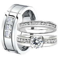 His Hers Stainless Steel Women's Engagement CZ Ring Set & Men's 8mm Wedding Band