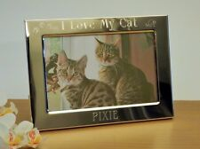 Personalised Engraved I Love My Cat, Cats Photo frame, Birthday Christmas Gift