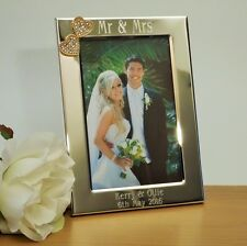 Personalised Mr & Mrs Photo Frame with Gold Diamante Hearts 6x4, Wedding Gift