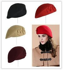 New Fashion Solid Color Warm Wool Winter Women Girl Beret French Beanie Hat Cap