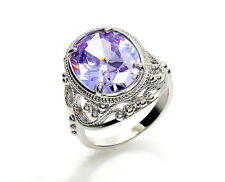 jewelry Violet Zircon Crystal Fashion Woman Wedding Band Silver Ring Size, 8, 9