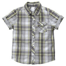 BNWT BOYS SIZE 3 CHARCOAL WHITE LIME CHECK COLLARED SHIRT ~ NEW