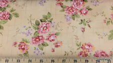 Shabby Rose Floral Fabric Pink & Cream Chic Quilting Apparel Cotton Fabric t1/4