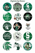 """MICHIGAN STATE SPARTANS 1"""" CIRCLES  BOTTLE CAP IMAGES. $2.45-$5.50 FREE SHIPPING"""