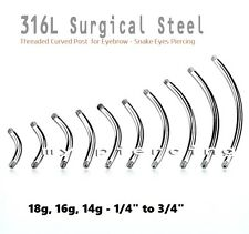 18g,16g,14g Steel Threaded Curved Eyebrow Barbell & Tongue Snake-Eyes Piercing