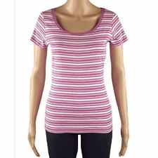 Ex Chainstore Stripe T-Shirt Tee Top Ladies Cotton Short Sleeve Size 12 NEW
