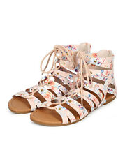 New Women Qupid Archer-17 Floral Stud Lace Up Gladiator Flat Sandal