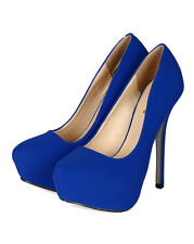 New Women Qupid Mady-14 Nubuck Pointy Glitter Bottom Platform Stiletto Heel Pump
