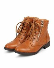 New Women Liliana Maceo-1 Quilted Leatherette Almond Toe Zipper Combat Boot Size