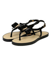 Qupid Jammy-06 New Women Jelly PVC Bow Decor Gold Trim Gladiator Thong Sandal