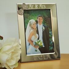 Personalised Mr & Mrs Photo Frame with Silver Diamante Hearts 6x4, Wedding Gift