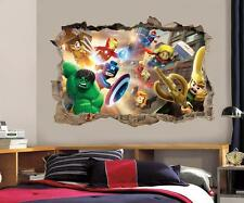 LEGO MARVEL DC Smashed Wall 3D Decal Removable Graphic Wall Sticker Mural H163