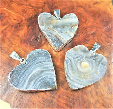 Druzy Necklace - Agate Heart Pendant (E8) Silver Plated Natural Crystal Cluster