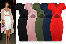 NEW WOMENS CELEBRITY INSPIRED CROSS OVER CUT OUT STRETCH LADIES BODYCON DRESS