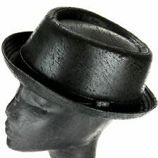 PORK PIE HAT BLACK DISTRESSED VINTAGE LEATHER LOOK SKA RUDE BOY RETRO