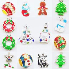 Christmas Xmas Holiday Silver Plated Dangle Charm Beads fit European Bracelet