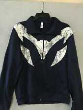 American Apparel L Navy Blue California Fleece Zip Up Track Jacket
